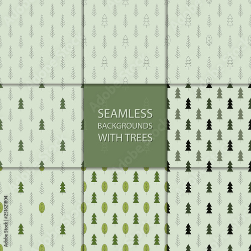 obraz lub plakat Seamless backgrounds with trees
