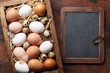 Hen and quail eggs