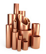 Copper pipes profile stack.