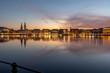 Leinwanddruck Bild - Hamburg, Germany at sunset