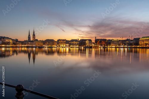 Leinwanddruck Bild Hamburg, Germany at sunset