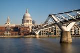 Fototapeta Londyn - St Paul's Cathedral and Millennium Footbridge over the Thames © LorenaCirstea