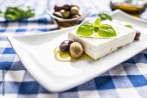 Greek cheese feta with olive oil olives and basil leaves