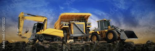 Leinwandbild Motiv Vehicle construction at sunset. 3d rendering