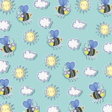 bees insects with sun and clouds background