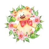 Teddy bear with flowers. Watercolor illustration isolated on white