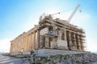 Athens, Greece - March 14, 2017: Western facade of the Parthenon temple on the Acropolis of Athens, Greece under reconstruction during spring 2017.
