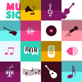 Vector Music Background with Icons Set