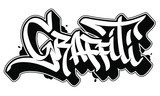 Graffiti vector word in readable graffiti style. Only black line isolated on white background.