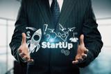 Business scheme concept, startup double exposure background. - 251768406