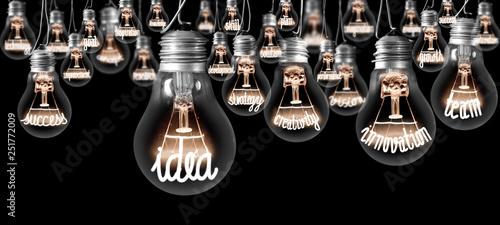 Leinwanddruck Bild Light Bulbs Concept