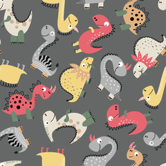 Dinosaur pattern on gray background
