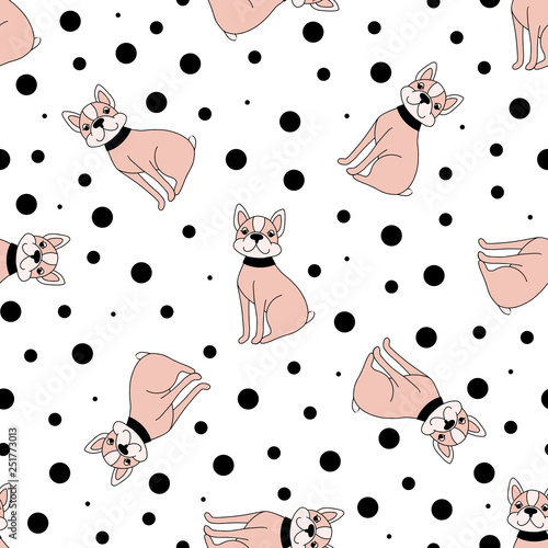 mata magnetyczna Seamless pattern with funny dogs