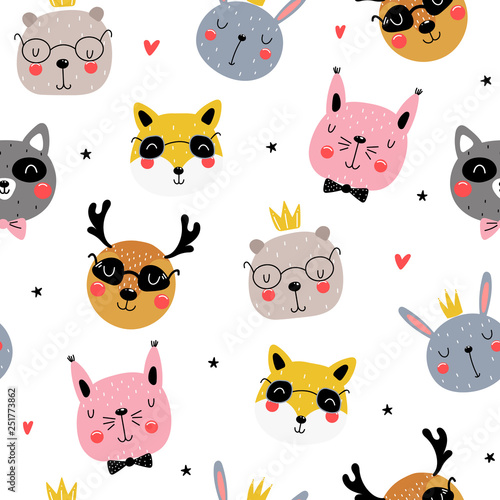 mata magnetyczna Seamless pattern with funny animals