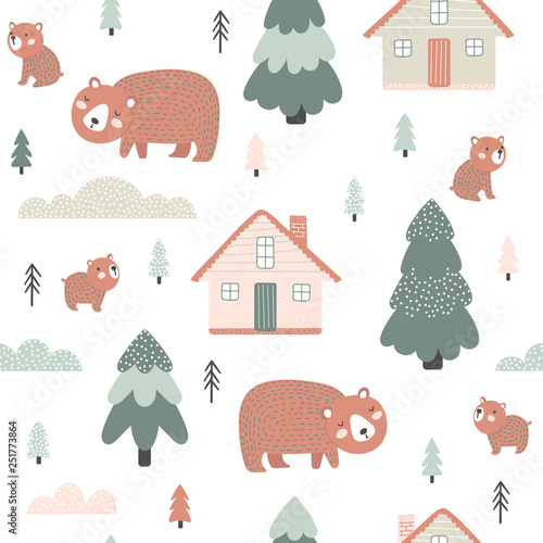 obraz lub plakat Seamless pattern with houses and bears