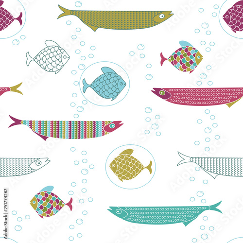 obraz lub plakat Seamless pattern with cute hand drawn fishes and air bubbles.