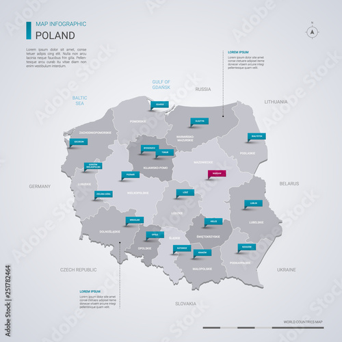 Poland vector map with infographic elements, pointer marks.
