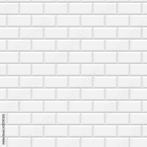 White glossy subway tiles wall seamless pattern, vector - 251787202