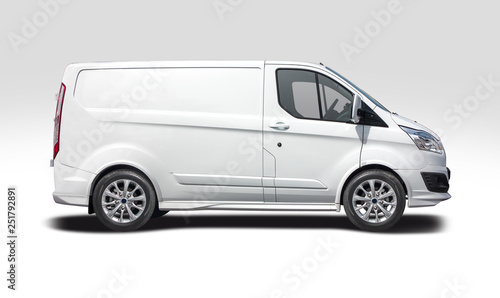 White van side view isolated on white  - 251792891