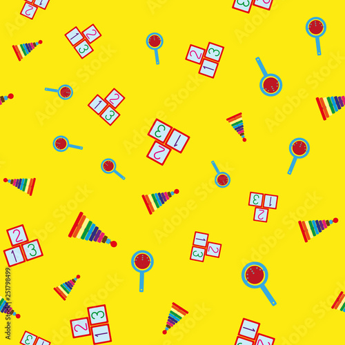 mata magnetyczna Colorful seamless pattern with children's toys. Repetitive pyramids, rattles, cubes with numbers. Vector illustration.