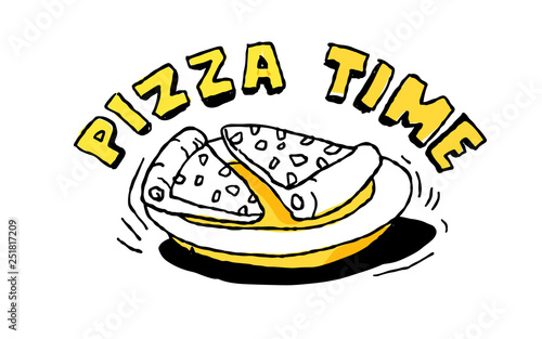 Pizza time. yellow and black vector