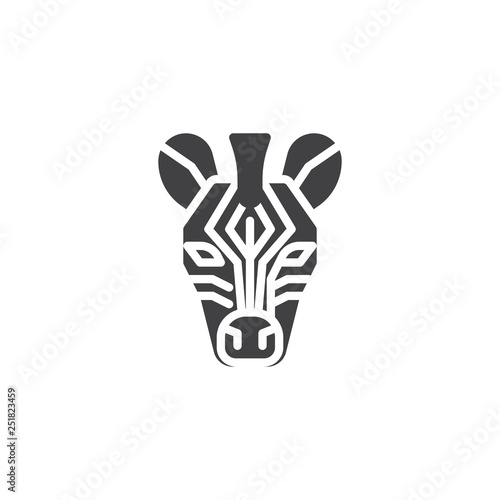 Zebra head vector icon. filled flat sign for mobile concept and web design. zebra animal glyph icon. Wild animals symbol, logo illustration. Pixel perfect vector graphics - 251823459