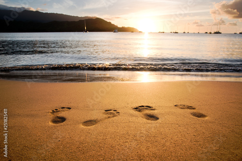 Footprints in the sand. Hanalei Bay, Kauai, Hawaii