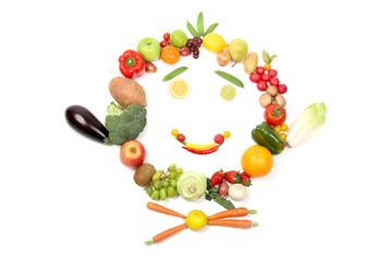 Lachendes Gesicht aus Obst und Gemüse