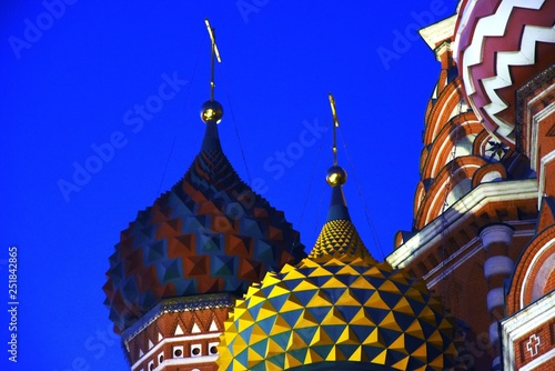 obraz lub plakat Saint Basils cathedral on the Red Square in Moscow. Color night photo.