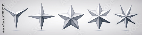 Set of volumetric vector stars. Three, four, five, six and seven coal forms, geometry shape, abstract vector  - 251850295