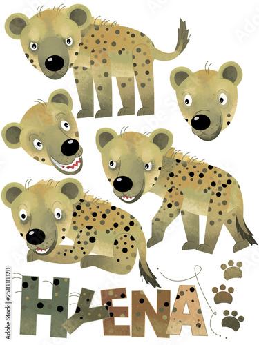 cartoon scene with hyena set on white background - illustration for children - 251888828