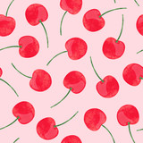 Watercolor cherry pattern. Vector seamless background.