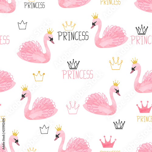 Seamless swan princess pattern. Vector watercolor illustration. - 251902614