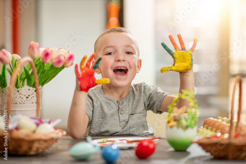 Color painted child hands