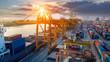 Leinwandbild Motiv Logistics and transportation of Container Cargo ship and Cargo plane with working crane bridge in shipyard at sunrise, logistic import export and transport industry background