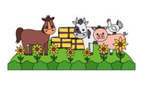 Fototapeta Konie - horse cow pig bales of hay farm © Gstudio Group