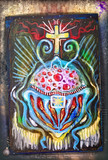 Celtic and ethnic cross. Ayahuasca vision and symbols