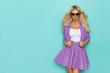 Beautiful Blond Woman In Purple Costume