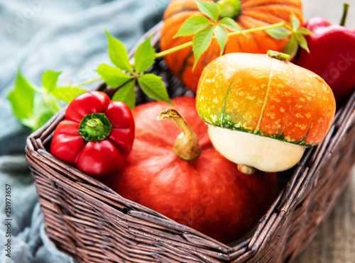 Autumn arrangement of pumpkins - basket with vegetables - 251973657