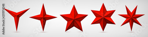 Set of volumetric red vector stars. Three, four, five, six and seven coal forms, geometry shape, abstract vector  - 251974248