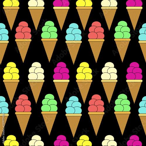 mata magnetyczna ice cream cone seamless pattern. colorful vector illustration