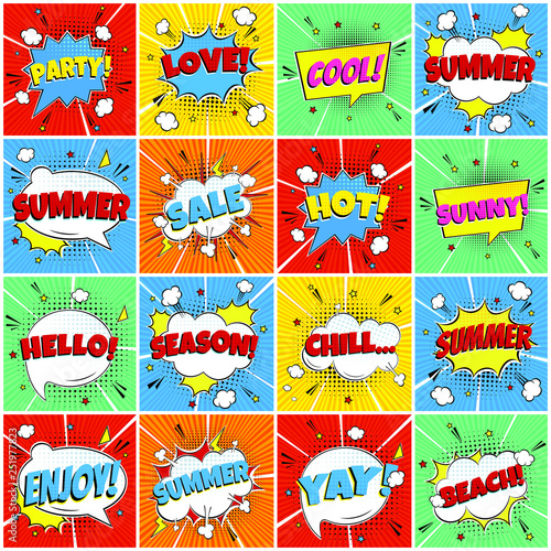16 Comic Lettering Summer In The Speech Bubbles Comic Flat Design Set. Dynamic Pop Art Vector Illustration Isolated On Rays Background. Exclamation Concept Of Comic Book Style Pop Art Voice Phrase. © Konstantin