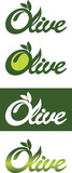 Conceptual solution for olive oil logo, vector, one color, two colors, negative and color transitions