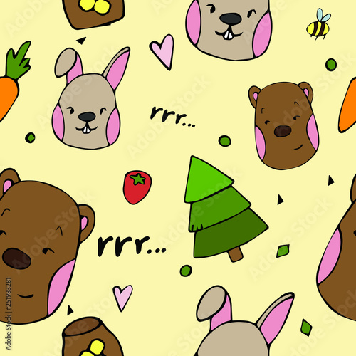 mata magnetyczna Vector pattern kids animal in hand draw style. Bear and hare