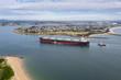 Leinwandbild Motiv Coal Ship entering Newcastle Port - Newcastle NSW Australia