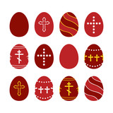Set, collection of decorated red eggs for Orthodox Easter Day, also known as Pascha or Resurrection Sunday. - 251984256
