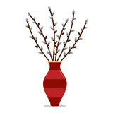Vector cartoon illustration of willow branches in the big modern vase isolated on white background. - 251984268