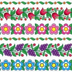 Seamless Polish folk art vector pattern - Zalipie traditional design with flowers and leaves