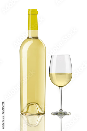 white wine bottles and glass on white background - 252017220