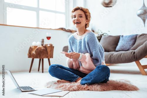 Leinwandbild Motiv Happy cheerful woman chatting in social networks